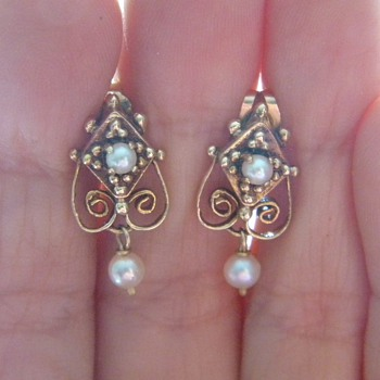 Antique Victorian Seed Pearl Heart 14k Earrings  - Fine Jewelry