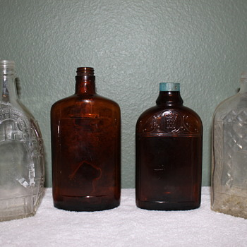 Screw top liquor bottles with federal writing. 1930's-1940's