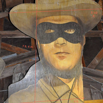 7 1/2 ft  LONE RANGER wood MOVIE BILLBOARD ? s - Advertising