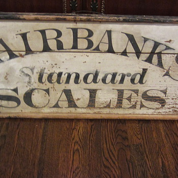 Late 1900s wooden Fairbanks Standard Scales sign - Advertising