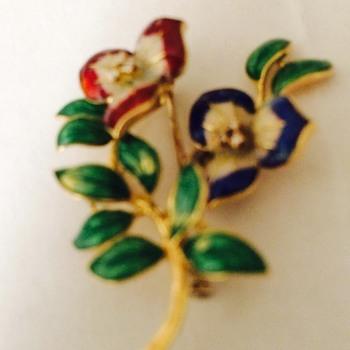 Cartier Gold Diamond and Enamel Flower Brooch