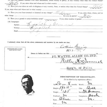 WWI D.O.J Registration Affidavit Of Alien Female - Military and Wartime