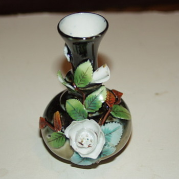Antique Majolica Porcelain Vase Applied Floral/Leaves - Art Pottery
