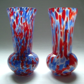 Czech Art Deco Spatter Glass Vases
