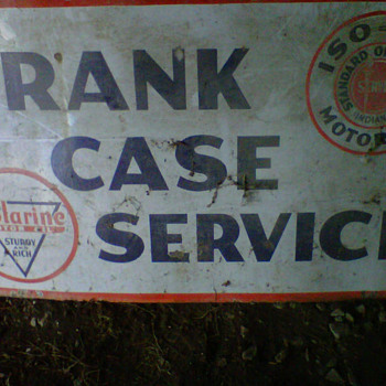 Crank Case Service, Standard Oil, Polarine Oil Sign - Signs