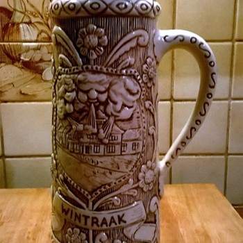 "Older, Decorative Majolica Tankard (Bierpul) Celebrating Carnival In The ""Wintraak"""