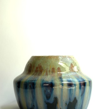 french art deco flammed stonware vase by LEON ELCHINGER
