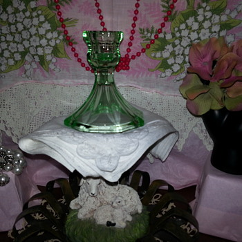 Green Depression Glass candle holder