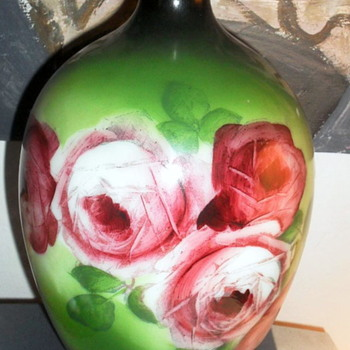 "New find 11"" Hand Painted Milk Glass Vase - Art Nouveau"
