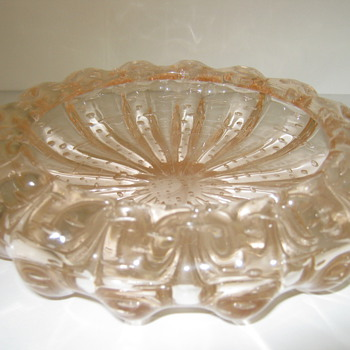 Murano? Pink with Bubbles Art Glass Ashtray  - Art Glass