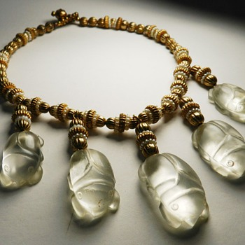Vintage Rock Crystal Scarabs Necklace