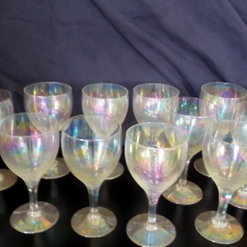 Antique Hand Blown European Iridescent Wine Glasses