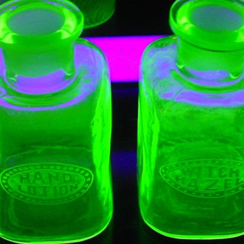 Rare Green Uranium Cambridge Lotion & Witch Hazel Bottle Set - Glassware