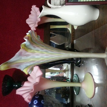 Rainbow colored , cased glass, jack in pulpit vase - Art Glass