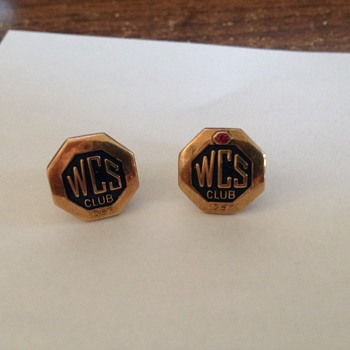 2 x WCS Club lapel pins, one with jewel