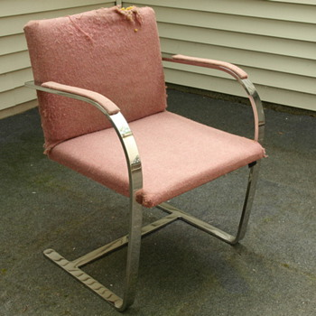 Solid Stainless Steel Mid Century Modern Chair w/ Upholstered Seat