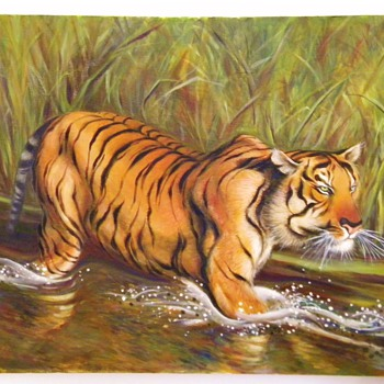 Oil Painting of Bengal Tiger in The River done by Reiko  - Animals