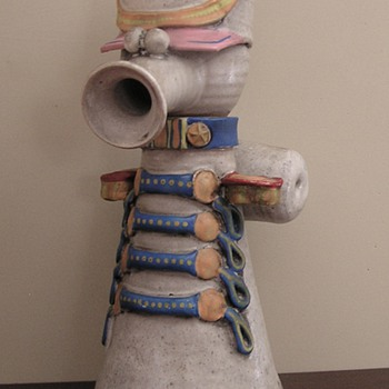 Funky stoneware drum major figural decanter? - Art Pottery