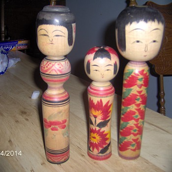 Antique Japanese Wooden Dolls Signed
