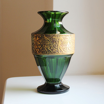 Moser Moss-Green Vase gilt Amazon Warriors signed c. 1925