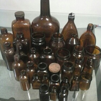 my favorite 1890-1940 amber bottle and jar  collection  - Bottles