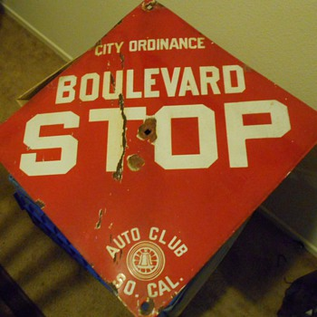 auto club stop sign from 20's - Signs