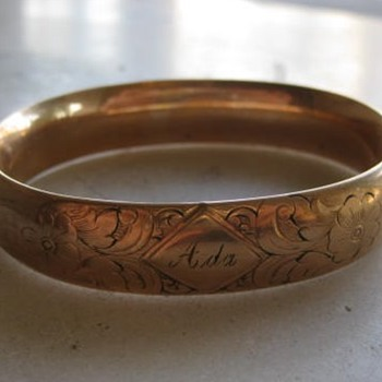 Engraved Ada  or Aida gold-filled bangle