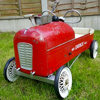 """Tri-ang Duke pedal car with period extras """"The Jim Clarke Special"""""""