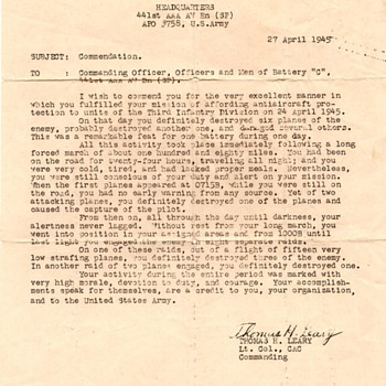 WWII Commendation letter, letter home and photos - Military and Wartime