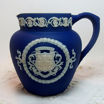 Blue Jasperware with Oswestry Coat of Arms - Art Pottery