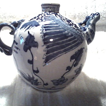 Unusual Chinese Round Teapot / Blue and White Dragon Design / Circa Mid-Late 20th Century