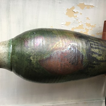 Iridescent Large Green Stoneware Vase