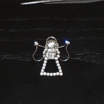 Rhinestone Angel Pin - Costume Jewelry