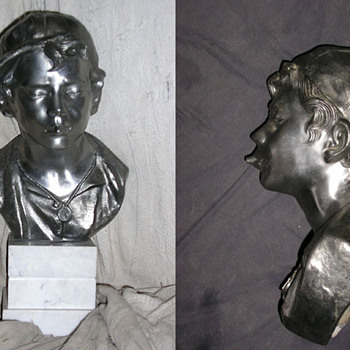 Spelter Bust of a Boy with a Whistle and Cap - Art Deco