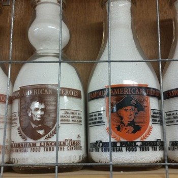 "Milk Bottles With ""Famous American Heroes"" designs....."
