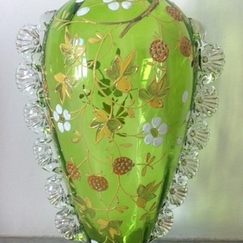 Green enamelled vase with applied rigaree - strawberry design - Art Glass