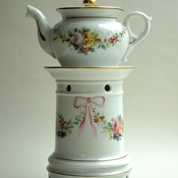 "antique french victorian porcelain ""tisaniere""  teapot. circa 1880."