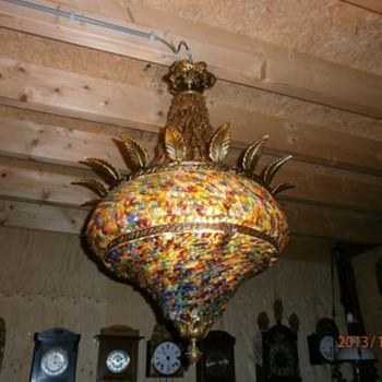 1001 bead glass hanging light fixture