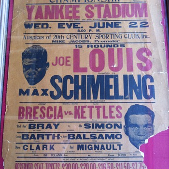 Fight Poster from 30&#039;s,Texaco pump plate from 47,Pure-Pep gas pump plate from 55