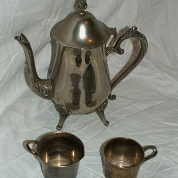 Antique Peer Less Silver Calif Coffee Pot, Cream Server, & Sugar Set