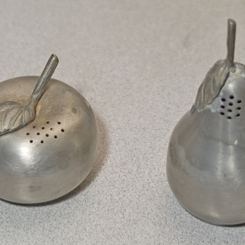 Salt and  Pepper shakers, pear and Apple pewter