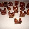 Hull Minature Alpine Village 16 Pieces Brown Drip Glaze
