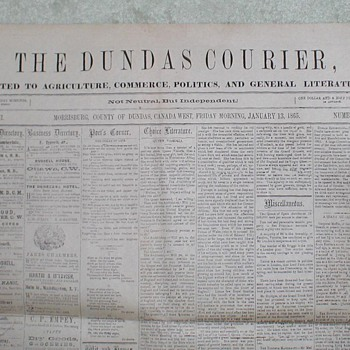 1865 The Dundas (Canada) Courier - Paper