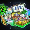 Miller Lite LA 57 Beer Beach Neon