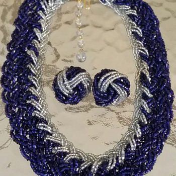 Blue glass beaded necklace & earrings