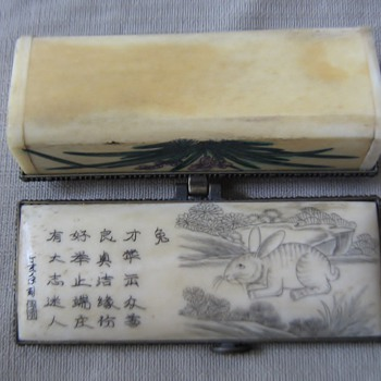 Etched & painted Chinese bone box