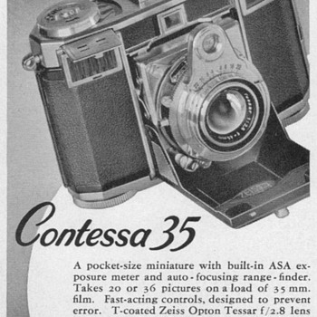 "1953 - Zeiss Ikon ""Contessa 35"" Camera Advertisements - Advertising"
