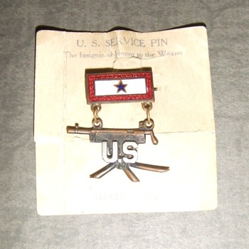 WW1 Machine Gun BN Sweetheart pin - Costume Jewelry