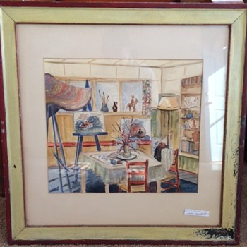Salvaged Watercolor signed & dated 1941  - Visual Art