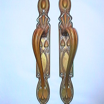 Art Nouveau brass door handles